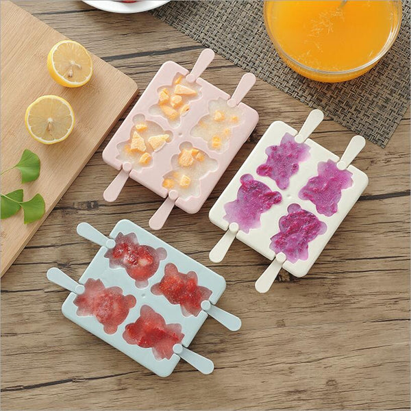 Cartoon Ice Cream 4-hole Mold For DIY Popsicle