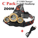 USB Charging LED Flashlight Torch Headlamp