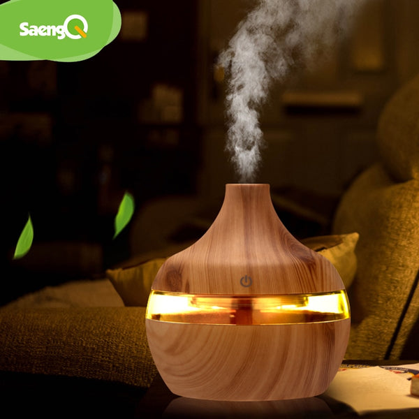 USB Mini Ultrasonic Wood Grain Air Humidifier with light