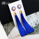 Bohemian Tassel Crystal drop dangle Earrings