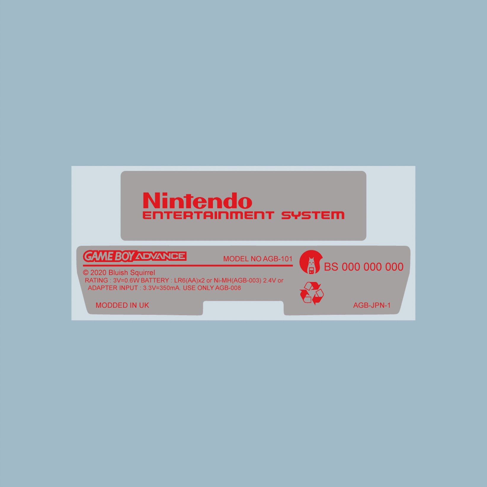 NES Style Game Boy Advance Back Sticker Label Set
