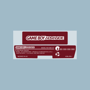 Famicom Ruby Red Game Boy Advance Back Sticker Label Set