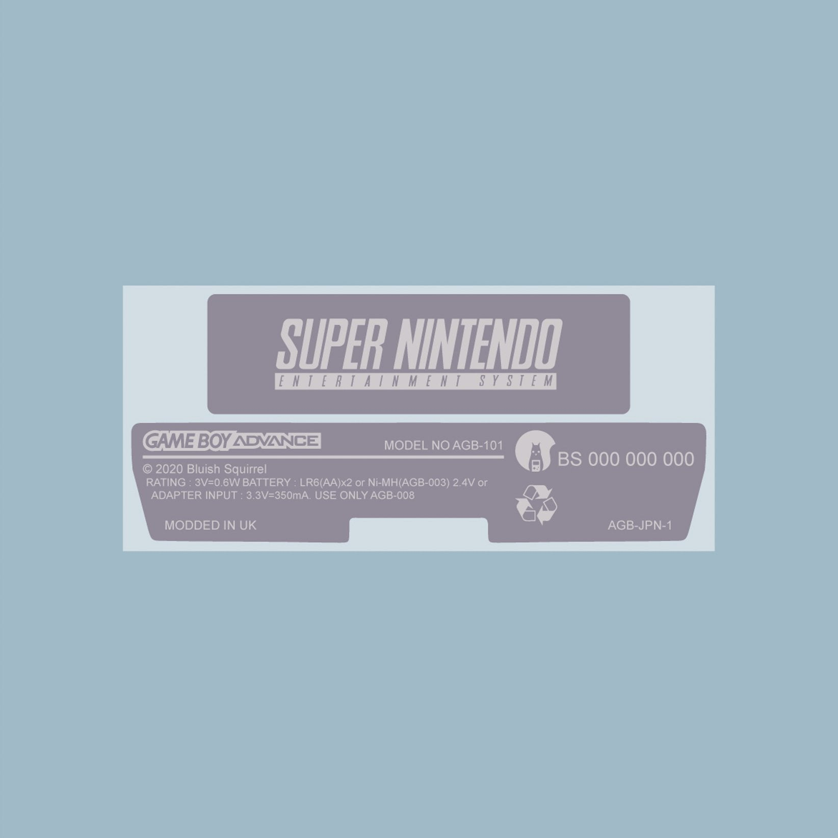 SNES Style Game Boy Advance Back Sticker Label Set