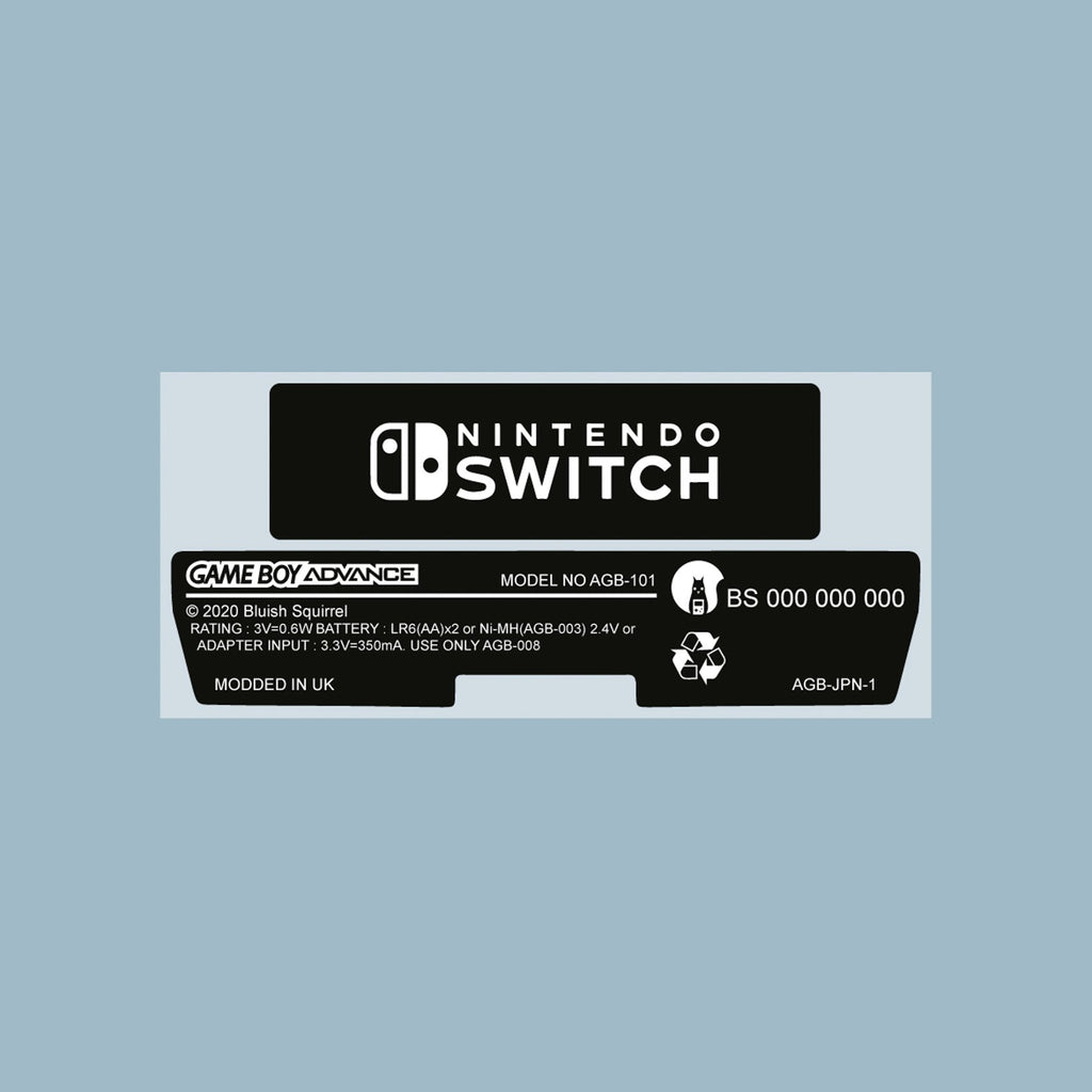 Switch Style Game Boy Advance Back Sticker Label Set