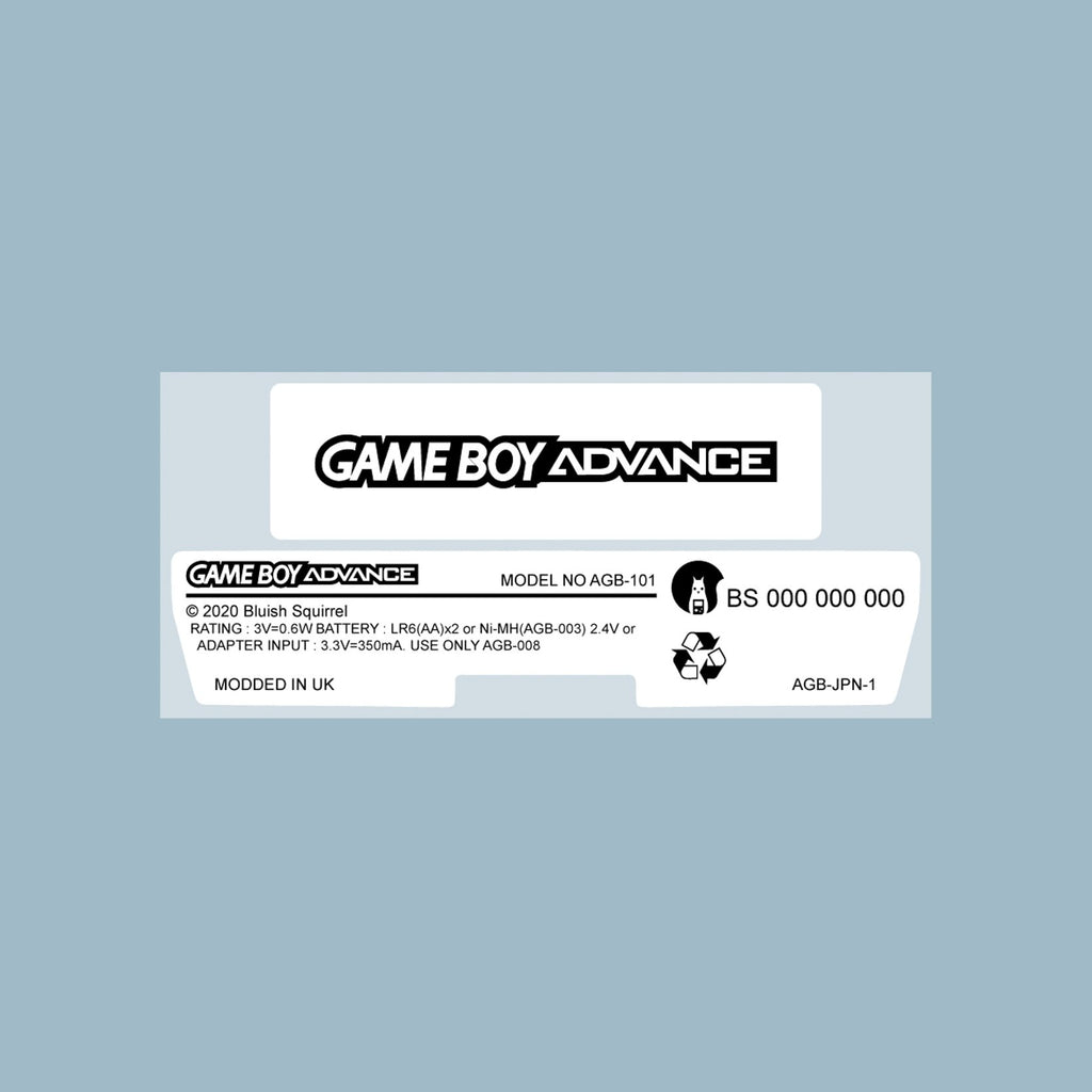 Game Boy Advance Back Sticker Label Set