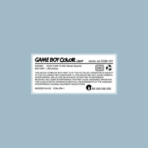 Game Boy Color Light Back Sticker Label