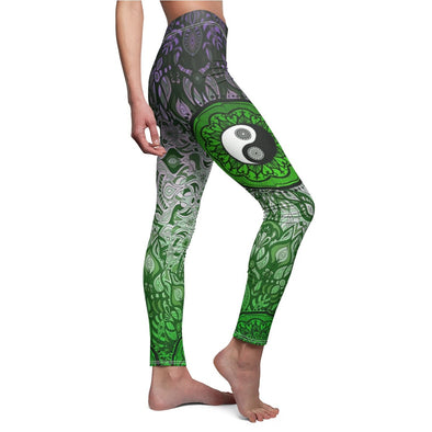 Green Yin-Yang Mandala Yoga Leggings | greatspiritualgifts.com