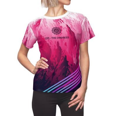 Women's sexy hot pink yoga Tee (XS, S, M, L, XL, 2XL) - greatspiritualgifts.com