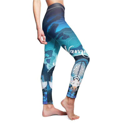 blue namaste yoga leggings side | greatspiritualgifts.com