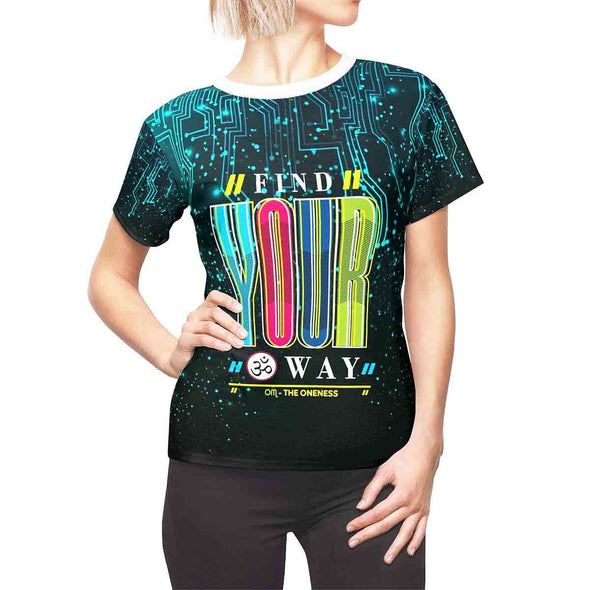 find your ॐ om way women tee front | greatspiritualgifts.com