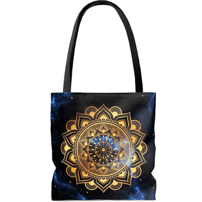 golden ॐ om mandala dark blue tote bag front | greatspiritualgifts.com