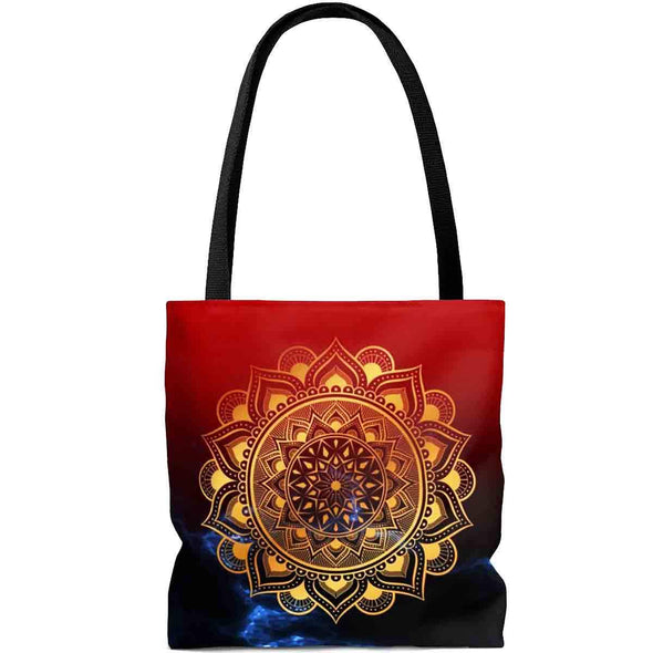 golden ॐ om mandala in red tote bag | greatspiritualgifts.com