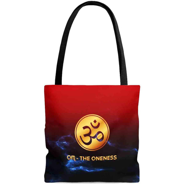 golden ॐ om mandala in red tote bag back | greatspiritualgifts.com