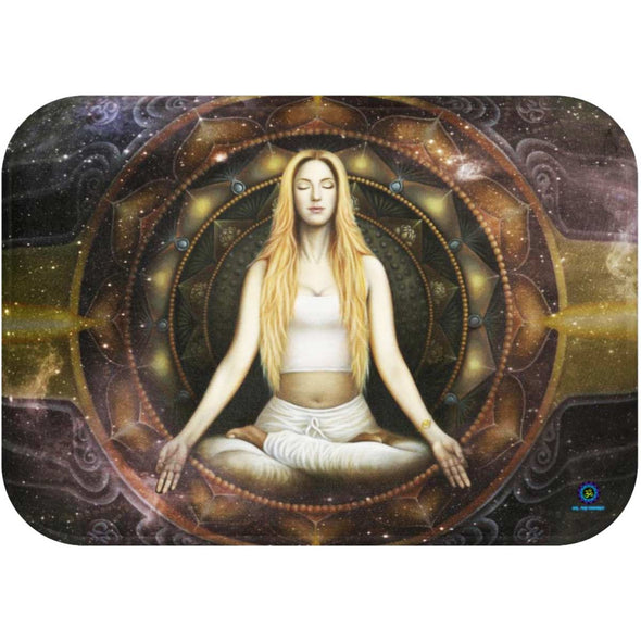 om shanti meditation woman bath mat | greatspiritualgifts.com