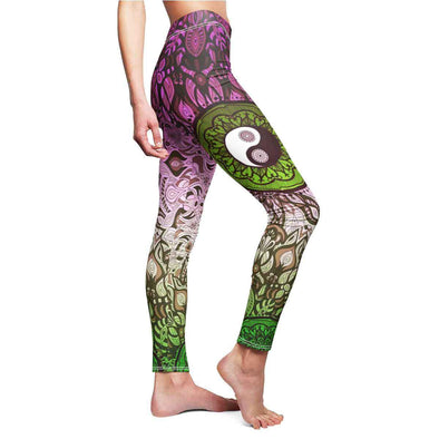 Pink-Green Yin-Yang Mandala Yoga Leggings | greatspiritualgifts.com