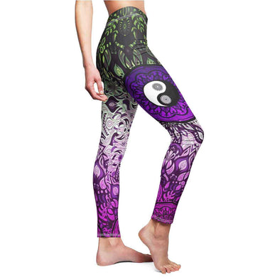 Purple-Green Yin-Yang Mandala Yoga Leggings | greatspiritualgifts.com