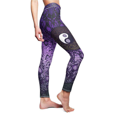 purple yin-yang mandala yoga Leggings side | greatspiritualgifts.com