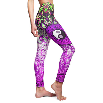 sexy hot pink yin-yang mandala yoga Leggings side | greatspiritualgifts.com