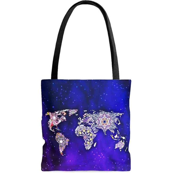 ॐ om world-map mandala tote bag front| greatspiritualgifts.com
