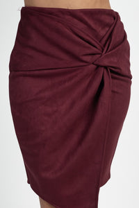 Suede With Me Skirt (Wine)