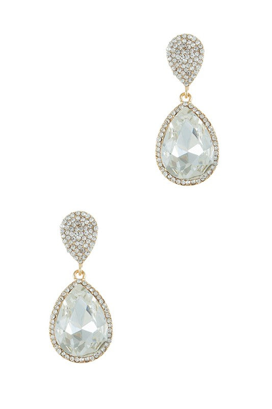 Teardrop Crystal Paved Earring