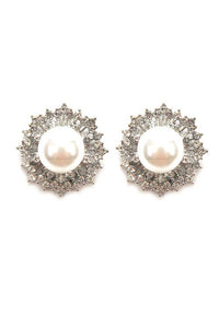 Pearl Flower Clip-On Earrings