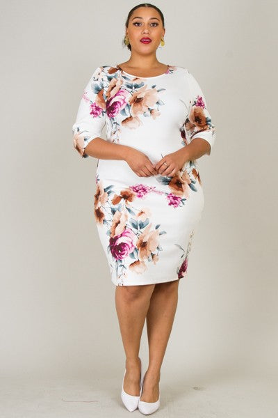 Floral Kisses Dress (Ivory/Floral)