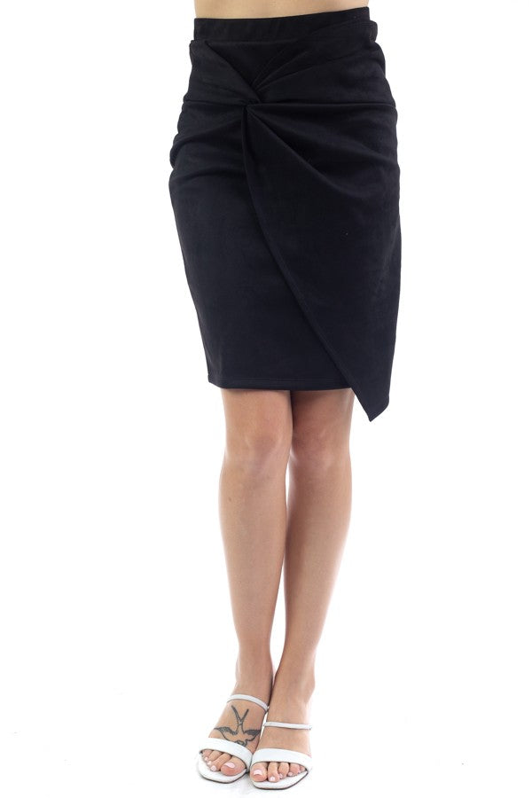 Suede Twist Skirt (Black)
