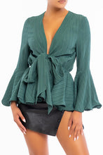 Load image into Gallery viewer, Wavy Hem Blouse (Hunter Green)