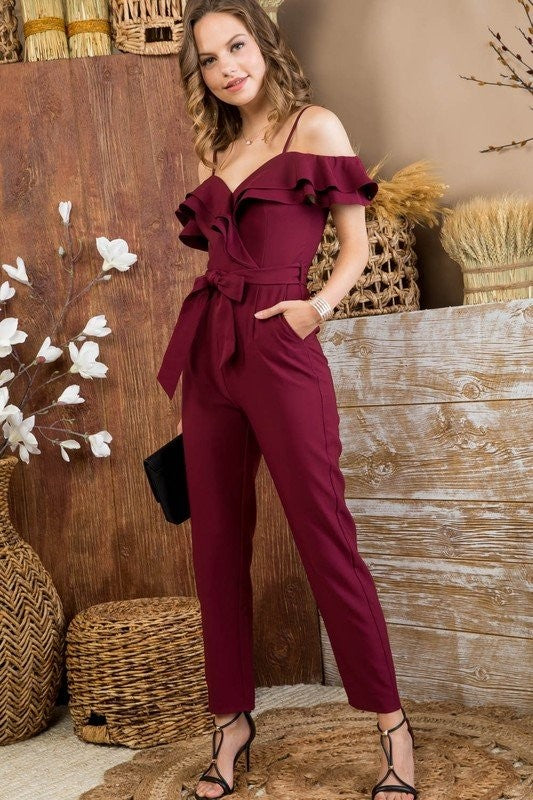 Time For Myself Jumpsuit (Burgundy)