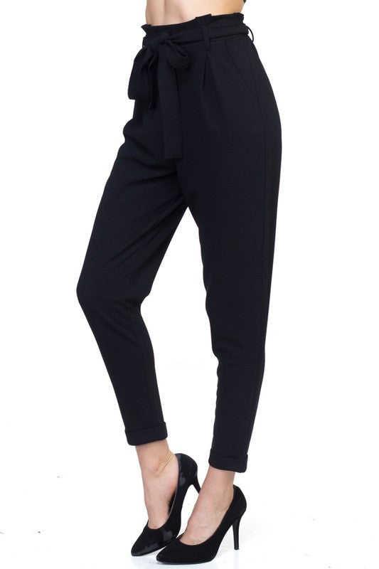 Solid Cuffed Trousers (Black)