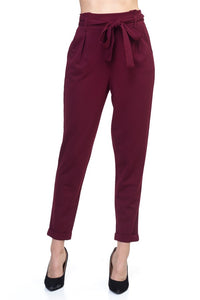 Solid Cuffed Trousers (Wine)