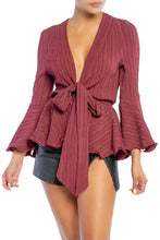 Load image into Gallery viewer, Wavy Hem Blouse (Wine)