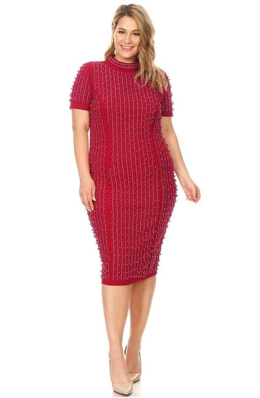 Life In Pearls Dress (Burgundy)