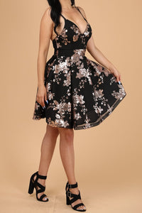 Dazzled By You Dress (Black/Gold)
