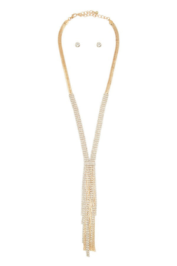 Rhinestone Fringe Necklace