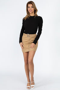 Puff-Sleeved Ribbed Top (Black)