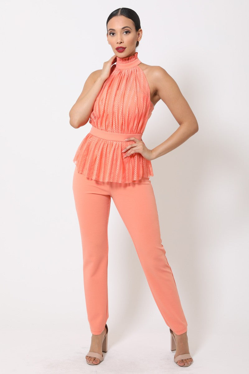 Sweet Like Candy Jumpsuit (Coral)
