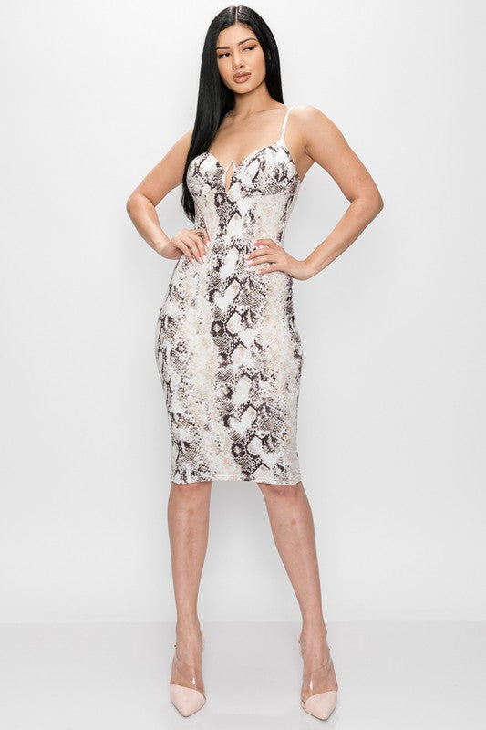 Pure Temptation Dress (Ivory/Brown)