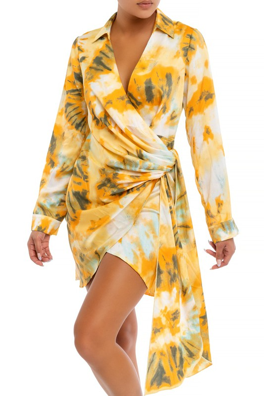 Tie-Dye Vibes Dress (Orange/Multi)