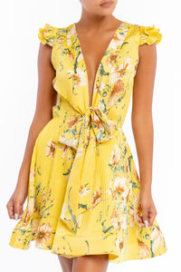 Vintage Flowers Dress (Yellow)