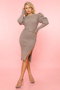 Sweater Weather Dress (Taupe)
