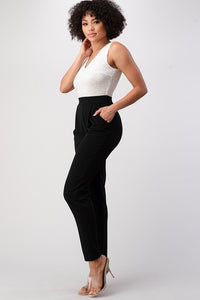 City Date Jumpsuit (Ivory/Black)