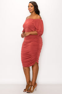 Ruched For You Dress (Mulberry)