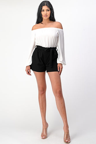Hey There Romper (Ivory/Black)
