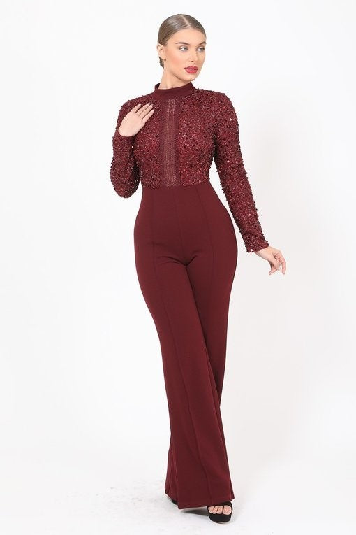 Ready To Mingle Jumpsuit (Wine)