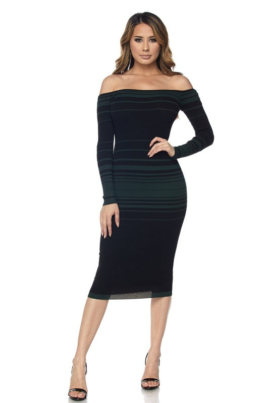 Striped Off-Shoulder Dress (Hunter Green)