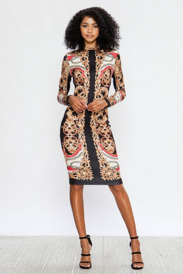 True Goddess Dress (Black/Print)