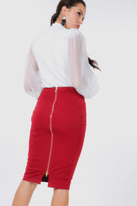 Zip Me Up Skirt (Burgundy)