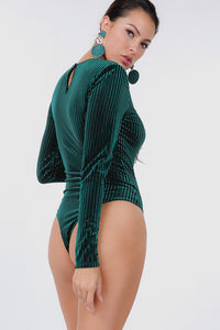 Striped Velvet Bodysuit (Hunter Green)